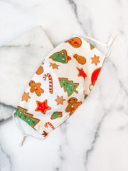 Adult Printed Face Mask - Gingerbread Print