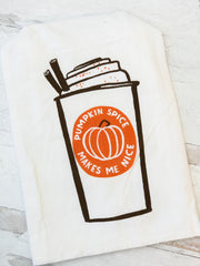 'Pumpkin Spice Makes Me Nice' Kitchen Towel by PBK