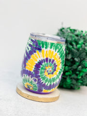 Mardi Gras Tie Dye 14 oz Stainless Steel Stemless Wine Cup by Swig