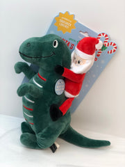 Santa-Saurus Rex Plush Dog Toy