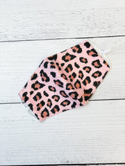 Adult Printed Face Mask - Pink Leopard