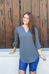 Gianna Tunic - Gray (Ships in 1-2 Weeks)