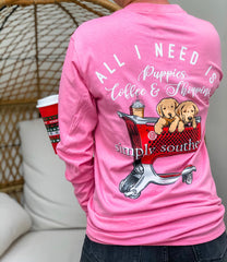 'Puppies, Coffee & Shopping' Long Sleeve Tee by Simply Southern
