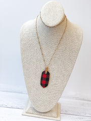 Bre Buffalo Check Drop Pendant Necklace - Red