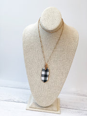 Bre Buffalo Check Drop Pendant Necklace - White