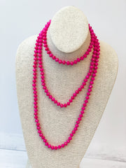 Endless Beaded Long Necklace - Fuchsia