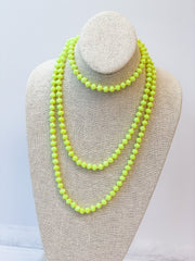 Endless Beaded Long Necklace - Neon Yellow