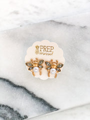 Gold Pearl Bee Studs