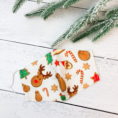 Youth Printed Face Mask - Gingerbread Print