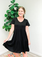 Jolene Tiered Ruffle Hem Dress - Black