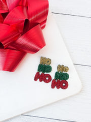 Ho Ho Ho Seed Bead Dangle Earrings