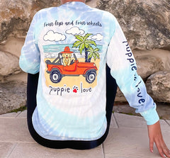'Four Legs and Four Wheels' Tie Dye Long Sleeve Tee by Puppie Love (Ships in 2-3 Weeks)