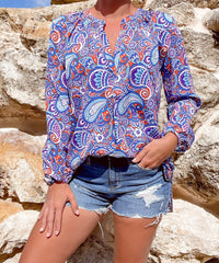Chic V-Neck Blouse by Simply Southern - Paisley