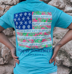 'Pledge Of Allegiance' Tropical Flag Short Sleeve by Simply Southern