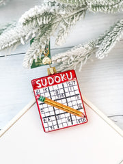 Glass Blown Ornament - Sudoku