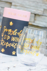 'Snuggle Dog Sip Wine Repeat' Stemless Wine Glass by PBK