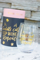 'Cuddle Cat Sip Wine Repeat' Stemless Wine Glass by PBK