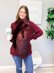 Tristan Faux Fur Pull Through Scarf - Burgundy
