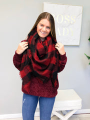 Eliza Buffalo Check Blanket Scarf - Red/Black