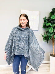 Nala Soft Faux Fur Winter Poncho - Grey