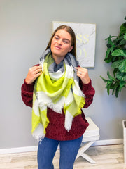 Haddie Plaid Blanket Scarf - Lime