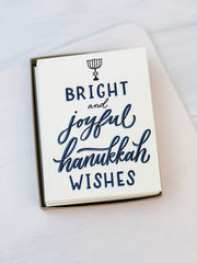 'Bright and Joyful Hanukkah Wishes' Greeting Card - Set of 8