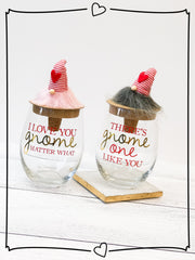 Pink and Red Gnome Wine Glass by Mud Pie - Choice of Style