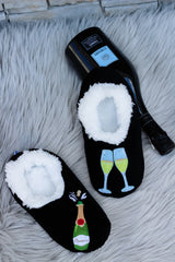 Snoozies! Slippers - Poppin' Prosecco - Black