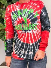 'Ho Ho Ho' Holiday Truck Tie Dye Long Sleeve Tee by Simply Southern