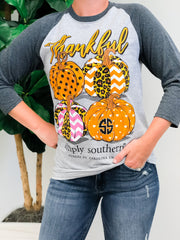'Thankful' Pumpkin Raglan Tee by Simply Southern
