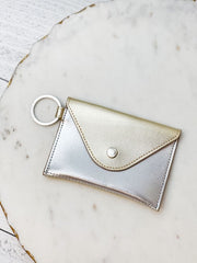 Mini Leather Envelope Wallet by O-Venture - Gold/Silver