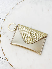 Mini Leather Envelope Wallet by O-Venture - Solid Gold Rush