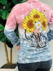 'Carpe Diem' Tie Dye Long Sleeve Tee by Simply Southern