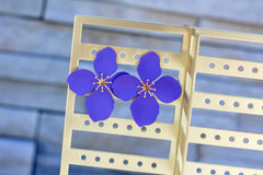 Amelia Flower Statement Earrings - Purple
