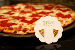 Heart Shaped Pepperoni Pizza Slice Signature Enamel Studs
