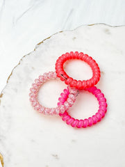 Teleties Hair Tie - Large Band Pack of 3 - Pink Punch