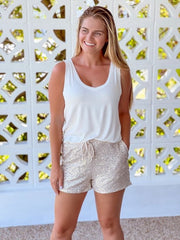 Sequin Drawstring Everyday Shorts - Champagne