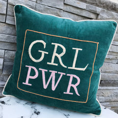 'Grl Pwr' Velvet Pillow by PBK