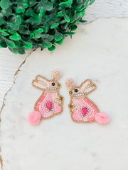 Bunny Seed Bead Dangle Earrings - Pink
