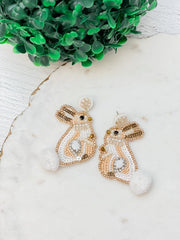 Bunny Seed Bead Dangle Earrings - Brown
