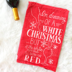 White Christmas Holiday Kitchen Towel by PBK