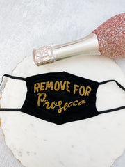 'Remove For Prosecco' Beaded Face Mask - Black