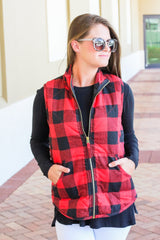 Brodie Quilted Vest by Mud Pie - Buffalo Check