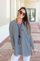 Noah Jersey Top by Mud Pie - Black/White Stripes