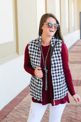 Brodie Quilted Vest by Mud Pie - Black Gingham