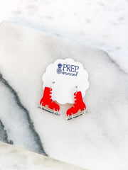 Acrylic Ice Skate Dangle Earrings - Red