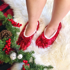 Snoozies! Slippers - Red Bling
