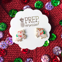 Holiday Santa and Unicorn Stud Earrings