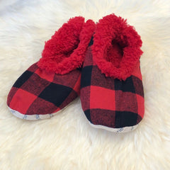 Kids Buffalo Check Snoozies! Slippers - Red