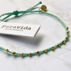 Gold Stitched Beaded Anklet by Pura Vida